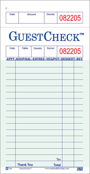 Good Guest Check Template Within Guest Check Template